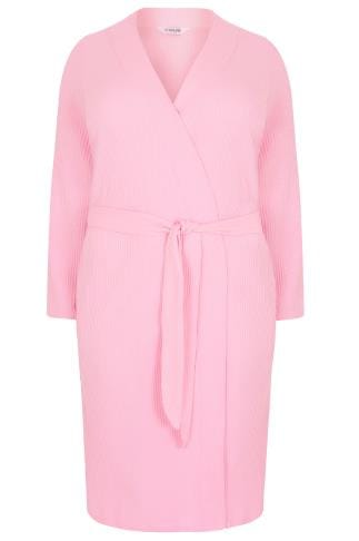 Pink Textured Cotton Dressing Gown With Pockets
