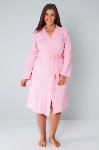 Dressing Gowns Pink Textured Cotton Dressing Gown With Pockets 148030