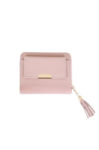 Pink Textured PU Zip Around Purse With Tab Pocket & Tassel 152107