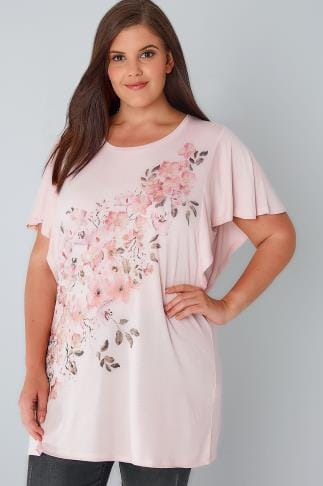 Jersey Tops YOURS LONDON Pink Watercolour Floral Print T-Shirt With Angel Sleeves 156195