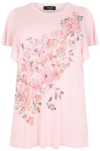 Pink Watercolour Floral Print T-Shirt With Angel Sleeves