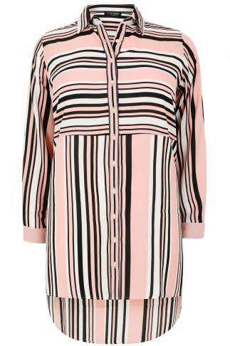 Pink, White & Black Striped Shirt With Side Split & Dipped Hem