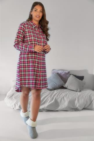 Nightdresses & Chemises Pink & White Checked Longline Night Shirt With Metallic Thread 148122