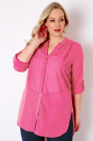 Pink & White Dotted Woven Shirt With Rolled Up Sleeves 170067