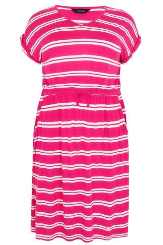 Pink & White Double Stripe T-Shirt Dress With Pockets & Elasticated Waistband