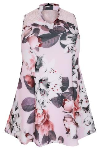 Pink & White Floral Peplum Choker Top With Lace Panel
