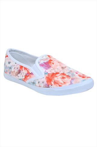 Pink & White Floral Print Slip On Plimsolls In EEE Fit
