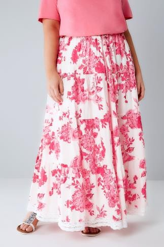 Maxi Skirts Pink & White Floral Print Tiered Maxi Skirt With Lace Trim Hem 160035