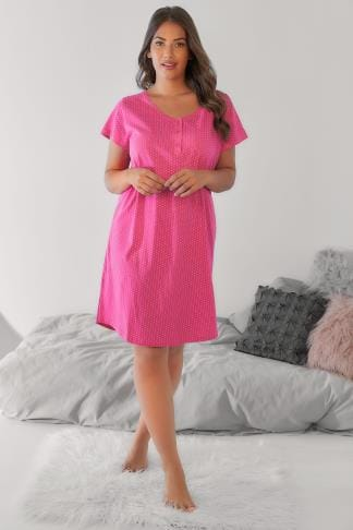 Nightdresses & Chemises Pink & White Polka Dot Nightdress 148052