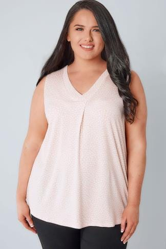 Jersey Tops Pink & White Spotted Sleeveless V-Neck Jersey Top 134125
