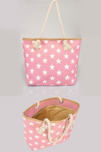 Bags & Purses Pink & White Star Print Beach Bag With Rope Handles 152242