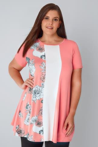 Jersey Tops Pink & White Swing Top With Floral Panel 134132