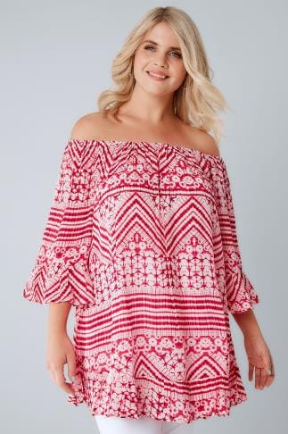 Bardot & Cold Shoulder Tops Pink & White Tie Dye Crinkle Top With Flared Hem & Cuffs 130157