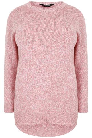 Pink & White Twist Knitted Longline Jumper