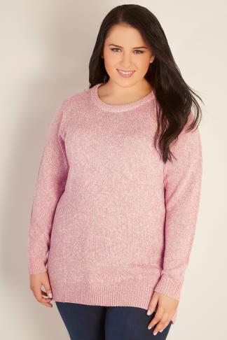 Jumpers Pink & White Twist Knitted Longline Jumper 102734