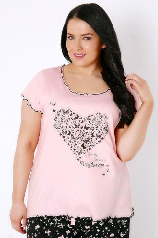 "Pink ""You're My Favourite Dream"" Butterfly Heart Print Pyjama Top"