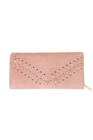 Pink Zip Around Purse With Herringbone Stitch Detail 152110