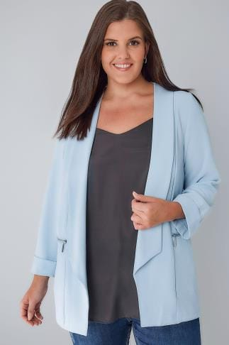Blazers Powder Blue Bubble Crepe Blazer Jacket With Zip Pockets 122001
