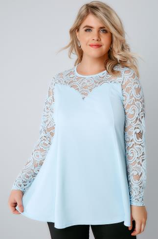 Powder Blue Peplum Top With Lace Yoke & Sleeves 156085
