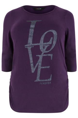 Purple 3/4 Sleeve Ruched Side Top With 'LOVE' Print