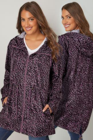 Parka Coats Purple Animal Print Pocket Parka With Hood 120046
