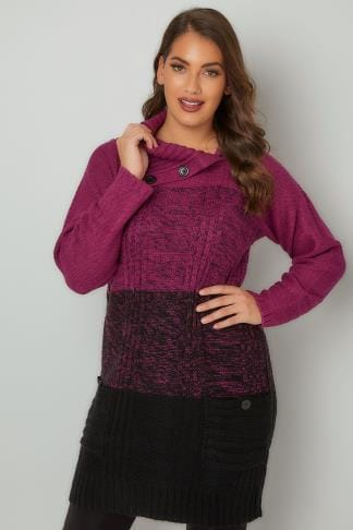 Tunic Dresses Purple & Black Cable Knit Tunic Dress With Split Neck & Pockets 124127