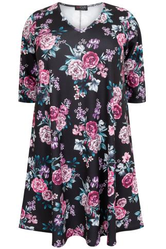 Purple & Black Floral Peony Print Swing Dress With V Neckline