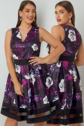 Skater Dresses Purple & Black Floral Print Scuba Skater Dress 136180