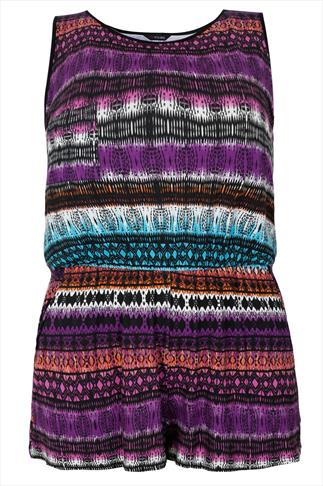 Purple, Blue, Red & Orange Aztec Print Pocket Playsuit