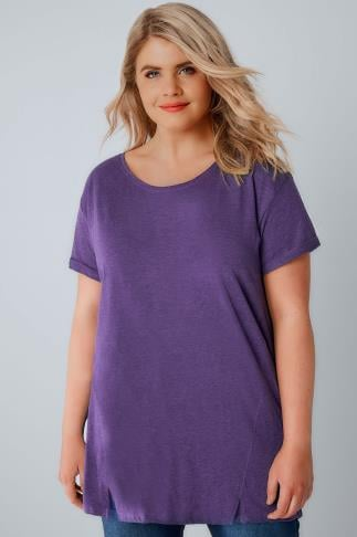 Basic Purple Boyfriend T-Shirt With Front Split Detail 132081