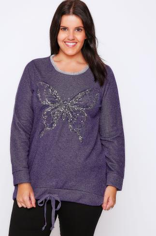 Purple Butterfly Embellished Sweat Top