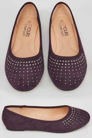 Purple COMFORT INSOLE Ballerina Pumps With Diamante Detail In TRUE EEE Fit