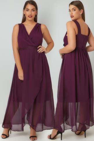 Maxi Dresses Purple Chiffon Maxi Dress With Wrap Front & Lace Details 136170