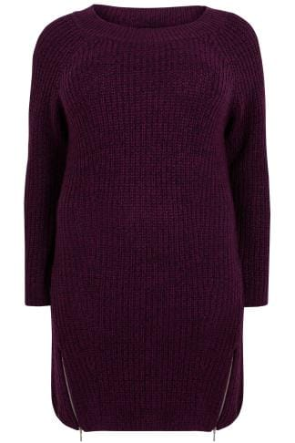 Tunikakleider Purple Chunky Knit Tunic Dress With Zip Hem 124089