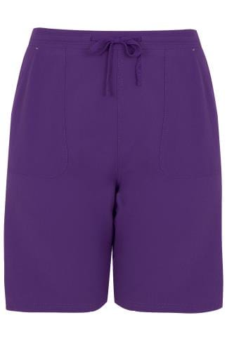 Purple Cool Cotton Pull On Shorts With Pockets