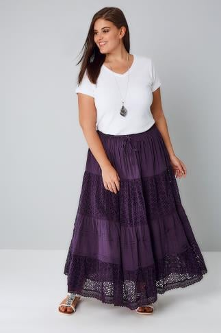 Purple Crinkle Cotton Tiered Maxi Skirt With Broderie Anglaise 160014