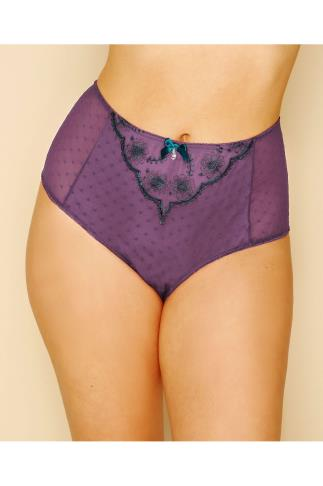 Purple & Dark Green Floral and Spot Embroidered Briefs