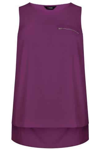 Purple Dipped Hem Top With Zip Pocket Detail