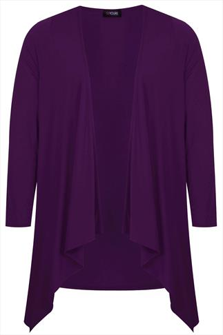 Purple Edge To Edge Waterfall Jersey Cardigan