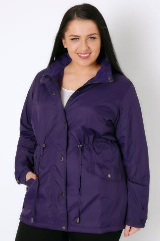 Purple Fleece Lined Lightweight Parka Coat With Invisible Hood