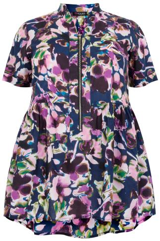 Purple Floral Print Longline Top With Ruched Waist & Zip Front