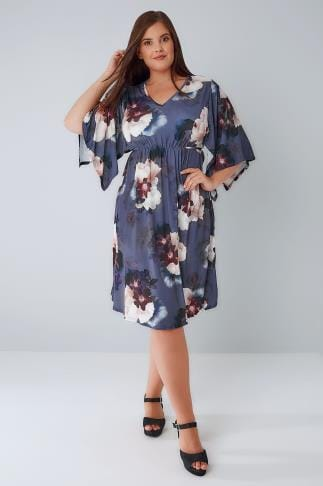 Mi longues Purple Floral Print Ruched Waist Midi Dress With Wide Split Sleeves 136125