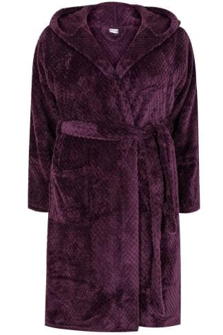 Purple Hooded Textured Fleece Dressing Gown With Pockets