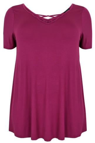 Purple Jersey T-shirt With Cross Over Straps