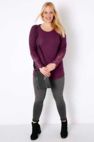 Purple Long Sleeve T-Shirt With Crochet Detail 103241