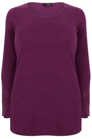 Purple Long Sleeve T-Shirt With Crochet Detail