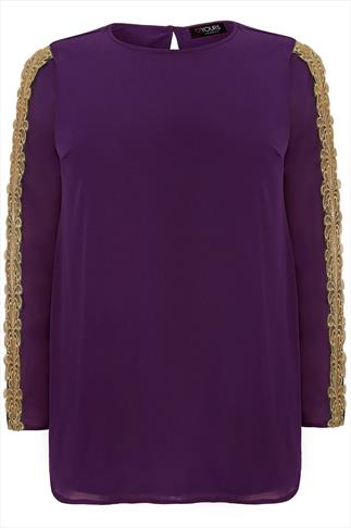 Purple Long Sleeved Blouse With Gold Crochet Trim