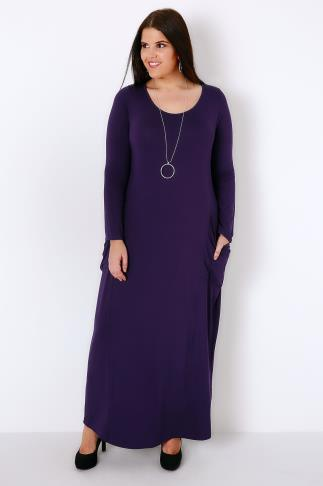 Purple Maxi Dress With Long Sleeves & Drop Pockets