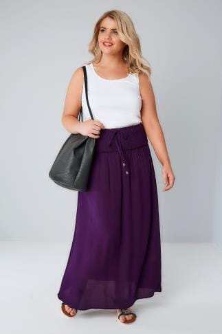 Purple Maxi Skirt With Ruched Waistline 160030