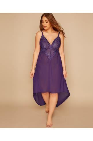 Babydolls & Chemises YOURS LONDON Purple Mesh & Lace Chemise With Extreme Dip Hem 156146